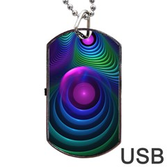 Beautiful Rainbow Marble Fractals In Hyperspace Dog Tag Usb Flash (two Sides)