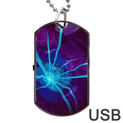 Beautiful Bioluminescent Sea Anemone Fractalflower Dog Tag Usb Flash (two Sides)