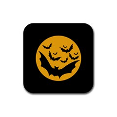 Bats Moon Night Halloween Black Rubber Coaster (square)