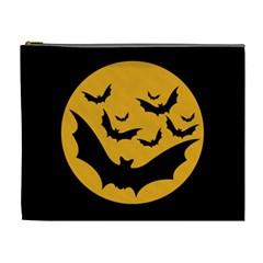 Bats Moon Night Halloween Black Cosmetic Bag (xl)