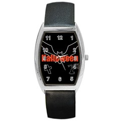 Halloween Bat Black Night Sinister Ghost Barrel Style Metal Watch