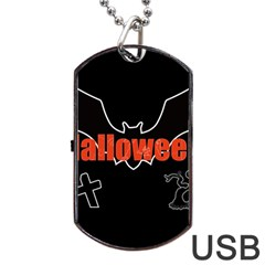 Halloween Bat Black Night Sinister Ghost Dog Tag Usb Flash (two Sides)