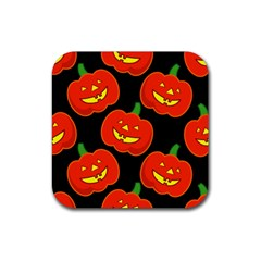 Halloween Party Pumpkins Face Smile Ghost Orange Black Rubber Square Coaster (4 Pack)