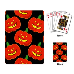 Halloween Party Pumpkins Face Smile Ghost Orange Black Playing Card