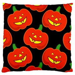 Halloween Party Pumpkins Face Smile Ghost Orange Black Large Cushion Case (two Sides)