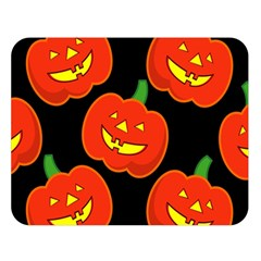 Halloween Party Pumpkins Face Smile Ghost Orange Black Double Sided Flano Blanket (large)