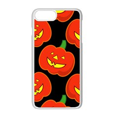 Halloween Party Pumpkins Face Smile Ghost Orange Black Apple Iphone 8 Plus Seamless Case (white)