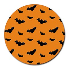 Halloween Bat Animals Night Orange Round Mousepads