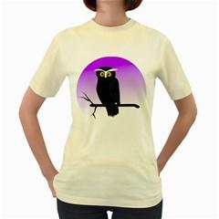 Halloween Owl Bird Animals Night Women s Yellow T Shirt