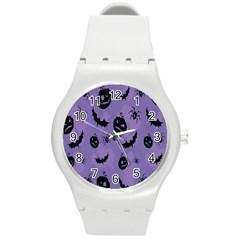 Halloween Pumpkin Bat Spider Purple Black Ghost Smile Round Plastic Sport Watch (m)