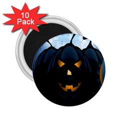 Halloween Pumpkin Dark Face Mask Smile Ghost Night 2 25  Magnets (10 Pack)