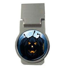 Halloween Pumpkin Dark Face Mask Smile Ghost Night Money Clips (round)