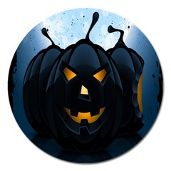 Halloween Pumpkin Dark Face Mask Smile Ghost Night Magnet 5  (round)