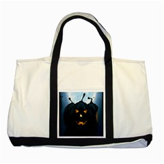 Halloween Pumpkin Dark Face Mask Smile Ghost Night Two Tone Tote Bag