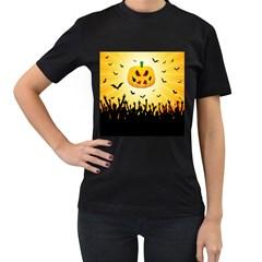 Halloween Pumpkin Bat Party Night Ghost Women s T Shirt (black)