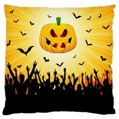 Halloween Pumpkin Bat Party Night Ghost Large Flano Cushion Case (one Side)