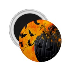Halloween Pumpkin Bat Ghost Orange Black Smile 2 25  Magnets