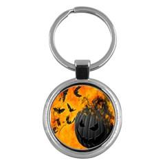 Halloween Pumpkin Bat Ghost Orange Black Smile Key Chains (round)