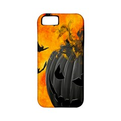 Halloween Pumpkin Bat Ghost Orange Black Smile Apple Iphone 5 Classic Hardshell Case (pc+silicone)