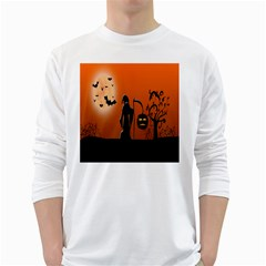 Halloween Sinister Night Moon Bats White Long Sleeve T Shirts