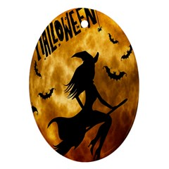 Halloween Wicked Witch Bat Moon Night Ornament (oval)
