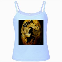 Halloween Wicked Witch Bat Moon Night Baby Blue Spaghetti Tank