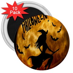 Halloween Wicked Witch Bat Moon Night 3  Magnets (10 Pack)