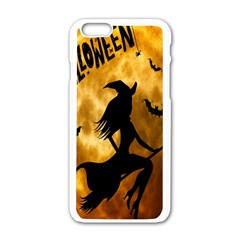 Halloween Wicked Witch Bat Moon Night Apple Iphone 6/6s White Enamel Case
