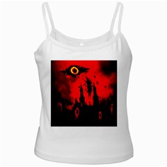Big Eye Fire Black Red Night Crow Bird Ghost Halloween Ladies Camisoles