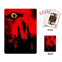 Big Eye Fire Black Red Night Crow Bird Ghost Halloween Playing Card