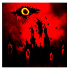 Big Eye Fire Black Red Night Crow Bird Ghost Halloween Large Satin Scarf (square)