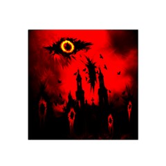 Big Eye Fire Black Red Night Crow Bird Ghost Halloween Satin Bandana Scarf