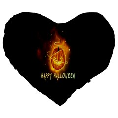 Happy Halloween Pumpkins Face Smile Face Ghost Night Large 19  Premium Heart Shape Cushions