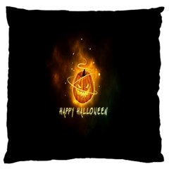 Happy Halloween Pumpkins Face Smile Face Ghost Night Large Flano Cushion Case (two Sides)