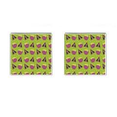 Hat Formula Purple Green Polka Dots Cufflinks (square)