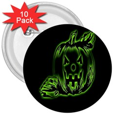 Pumpkin Black Halloween Neon Green Face Mask Smile 3  Buttons (10 Pack)