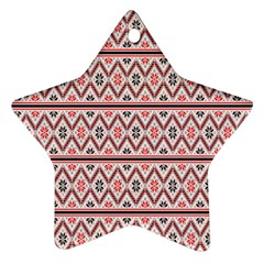 Red Flower Star Patterned Ornament (star)