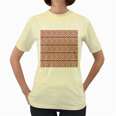 Red Flower Star Patterned Women s Yellow T Shirt