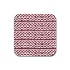 Red Flower Star Patterned Rubber Square Coaster (4 Pack)