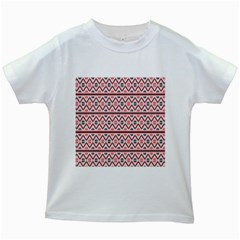 Red Flower Star Patterned Kids White T Shirts