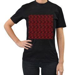 Red Flower Star Patterned Women s T Shirt (black) (two Sided)