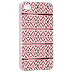 Red Flower Star Patterned Apple Iphone 4/4s Seamless Case (white)