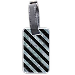 Stripes3 Black Marble & Ice Crystals Luggage Tags (two Sides)