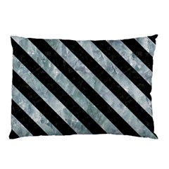 Stripes3 Black Marble & Ice Crystals Pillow Case (two Sides)