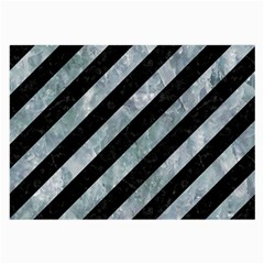 Stripes3 Black Marble & Ice Crystals (r) Large Glasses Cloth