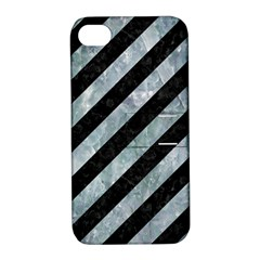 Stripes3 Black Marble & Ice Crystals (r) Apple Iphone 4/4s Hardshell Case With Stand