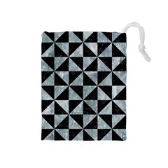 Triangle1 Black Marble & Ice Crystals Drawstring Pouches (medium)