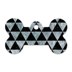 Triangle3 Black Marble & Ice Crystals Dog Tag Bone (two Sides)