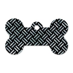 Woven2 Black Marble & Ice Crystals (r) Dog Tag Bone (two Sides)