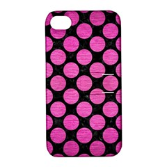 Circles2 Black Marble & Pink Brushed Metal (r) Apple Iphone 4/4s Hardshell Case With Stand